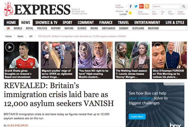 The story online which led one reader to call for an 'army' to hunt down'vanished' asylum