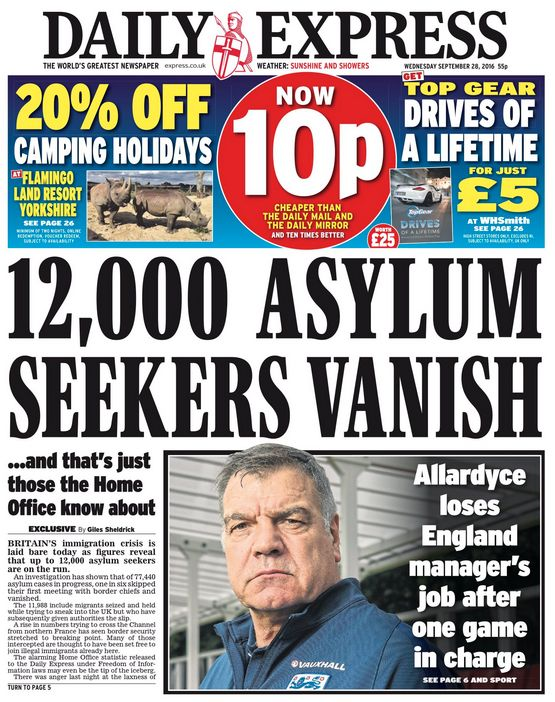Wednesday's Daily Express front page has been branded 'wholly