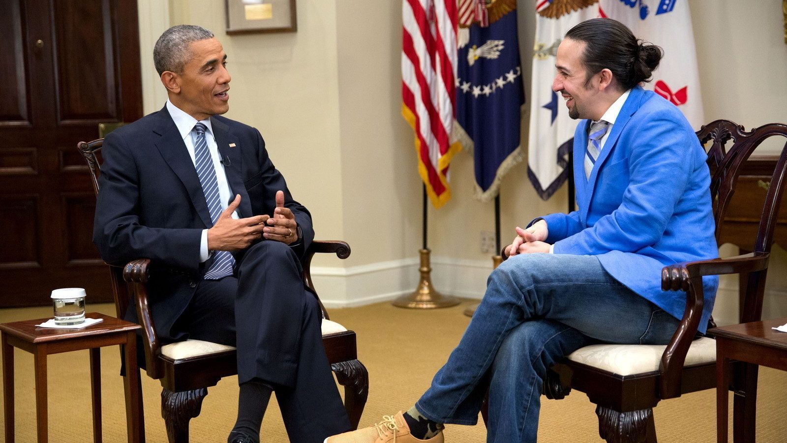 "President Barack Obama participates in an interview with Lin-Manuel Miranda for the PBS documentary ""Hamilton's America"" in the Roosevelt Room of the White House, March 14, 2016. (Official White House Photo by Chuck Kennedy)