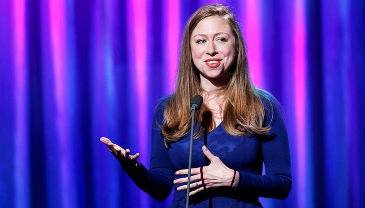 Chelsea Clinton speaks to guests during the Clinton Global Citizen Award in New YorkonSept. 19.