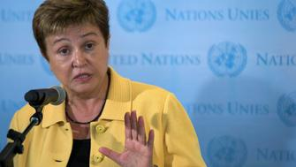 E.U. Humanitarian Aid Commissioner Kristalina Georgieva speaks to the media after a meeting on sending humanitarian aid to Syria, on the sidelines of the Climate Summit at the U.N. headquarters in New York. U.S. September 23, 2014. REUTERS/Brendan McDermid/File photo