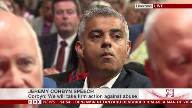Sadiq Khan looked blank-faced after Jeremy Corbyn congratulated him on winning the London