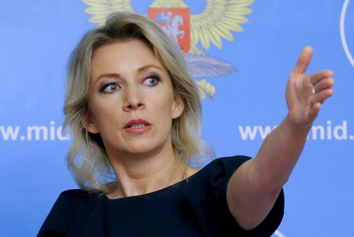 Spokeswoman of the Russian Foreign Ministry Maria Zakharova gestures as she attends a news briefing in Moscow, Russia, Octobe