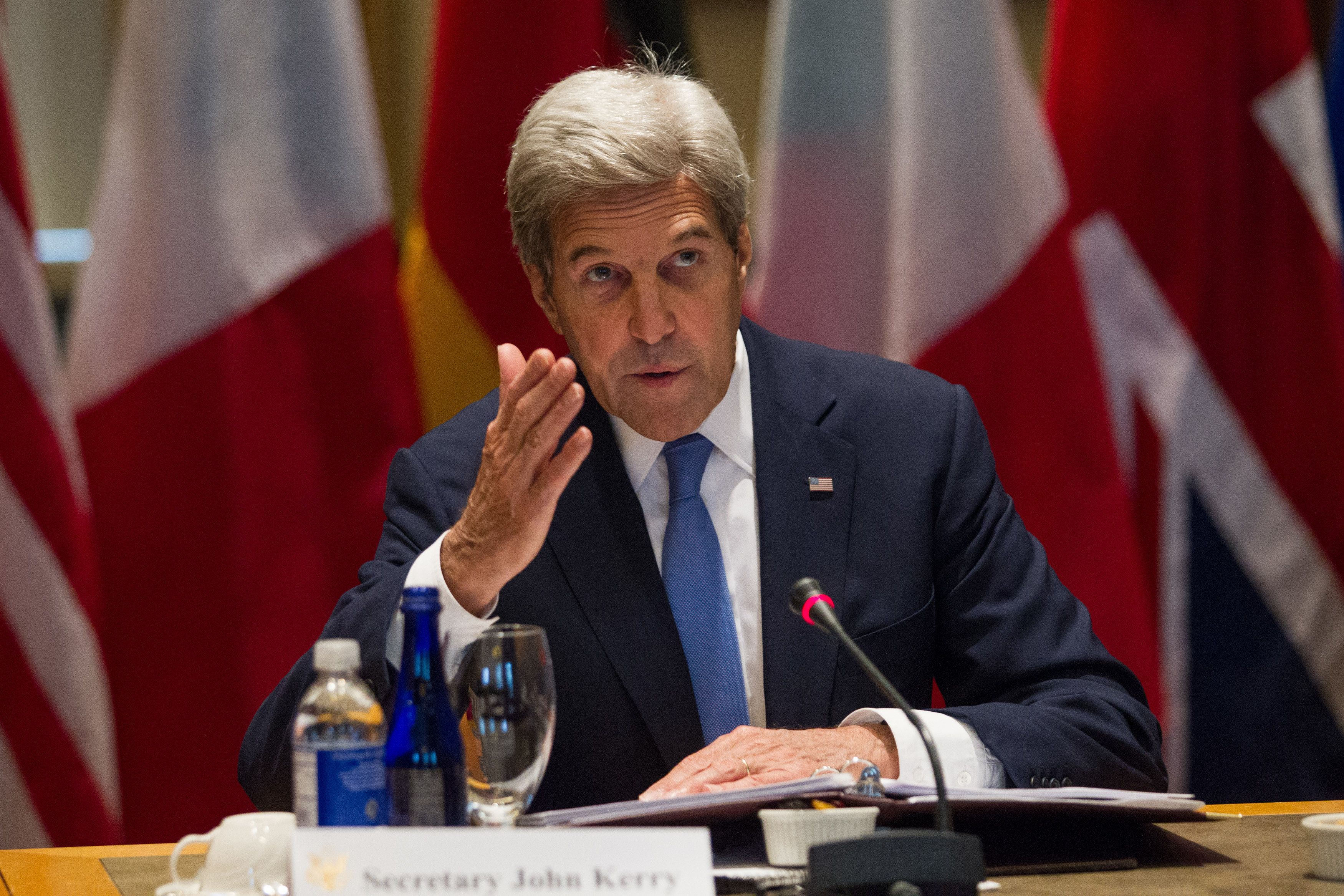 US Secretary of State John Kerry makes opening remarks during a ministerial meeting at Tufts University in Medford, Massachusetts on September 24, 2016.   / AFP / Matthew Healey        (Photo credit should read MATTHEW HEALEY/AFP/Getty Images)