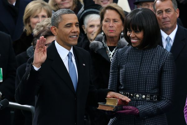 This suit gains its power from being so close to Michelle Obama's tremendous bangs.