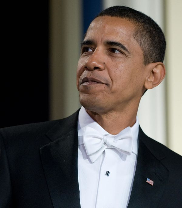 President Obama looks impossibly elegant in a tuxedo andwhite bow tie during the 2009 Youth Inaugural Ball.