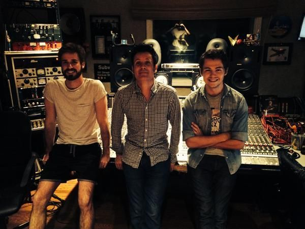Gabriel Hugoboom, left, in Warren's studio with Warren (center) and Damian McGinty (right), working on music for another albu
