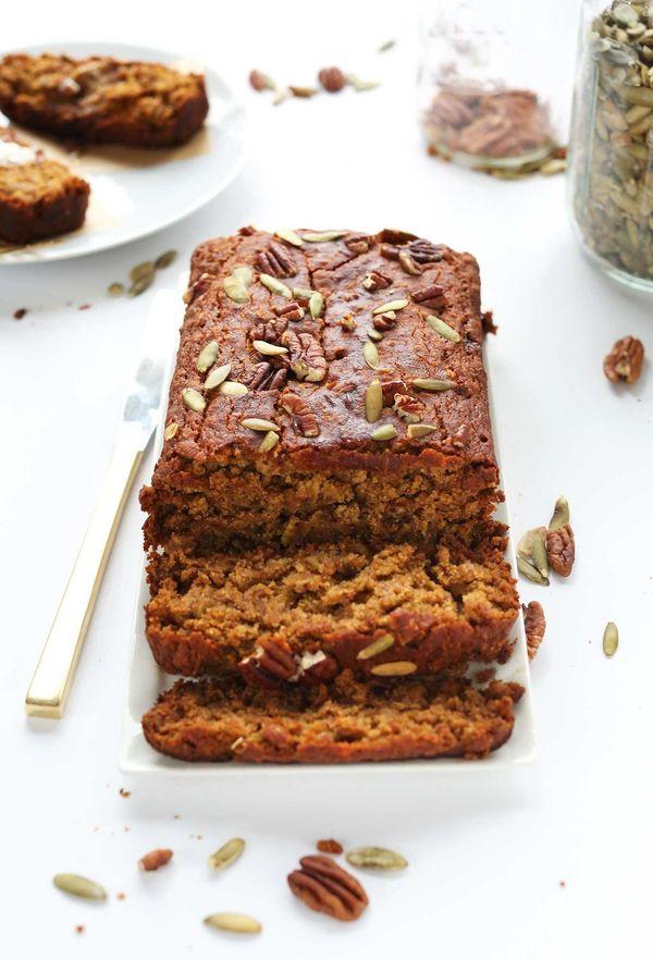 "<strong>Get the <a href=""http://minimalistbaker.com/1-bowl-pumpkin-bread-v-gf/"" target=""_blank"">One-Bowl Pumpkin Bread recipe"