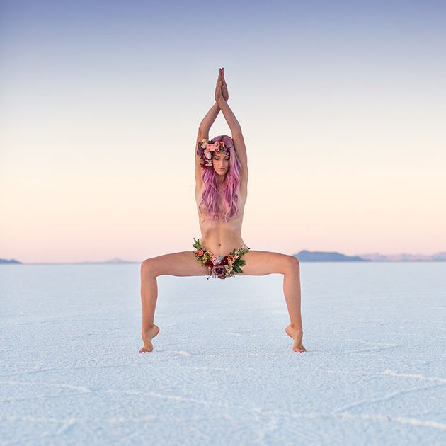 Heidi Williams posing in the Bonneville Salt Flats in