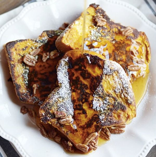 """<strong>Get the <a href=""""http://www.somethingswanky.com/pumpkin-french-toast/"""" target=""""_blank"""">Pumpkin French Toast recipe</a"""