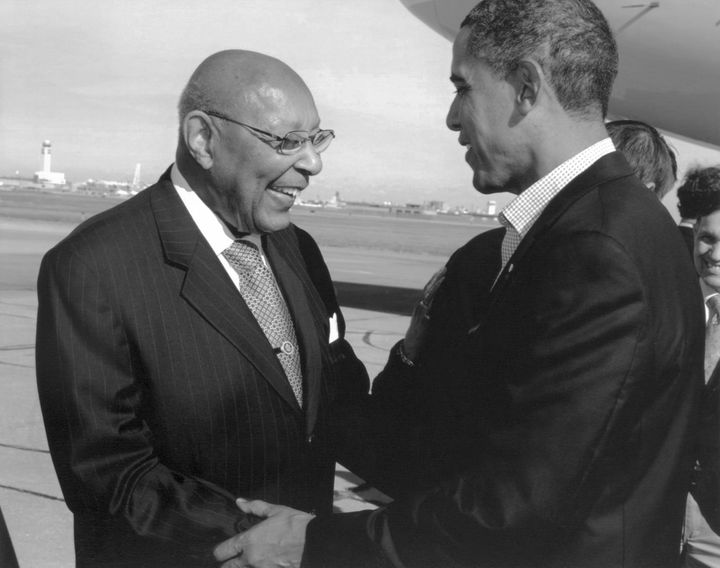 Louis Stokes with President Barack Obama during a visit to Cleveland.