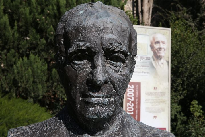 A bronze chest statue of late Israeli ex-president and Nobel Peace Prize winner Shimon Peres in the gardens of the Presi