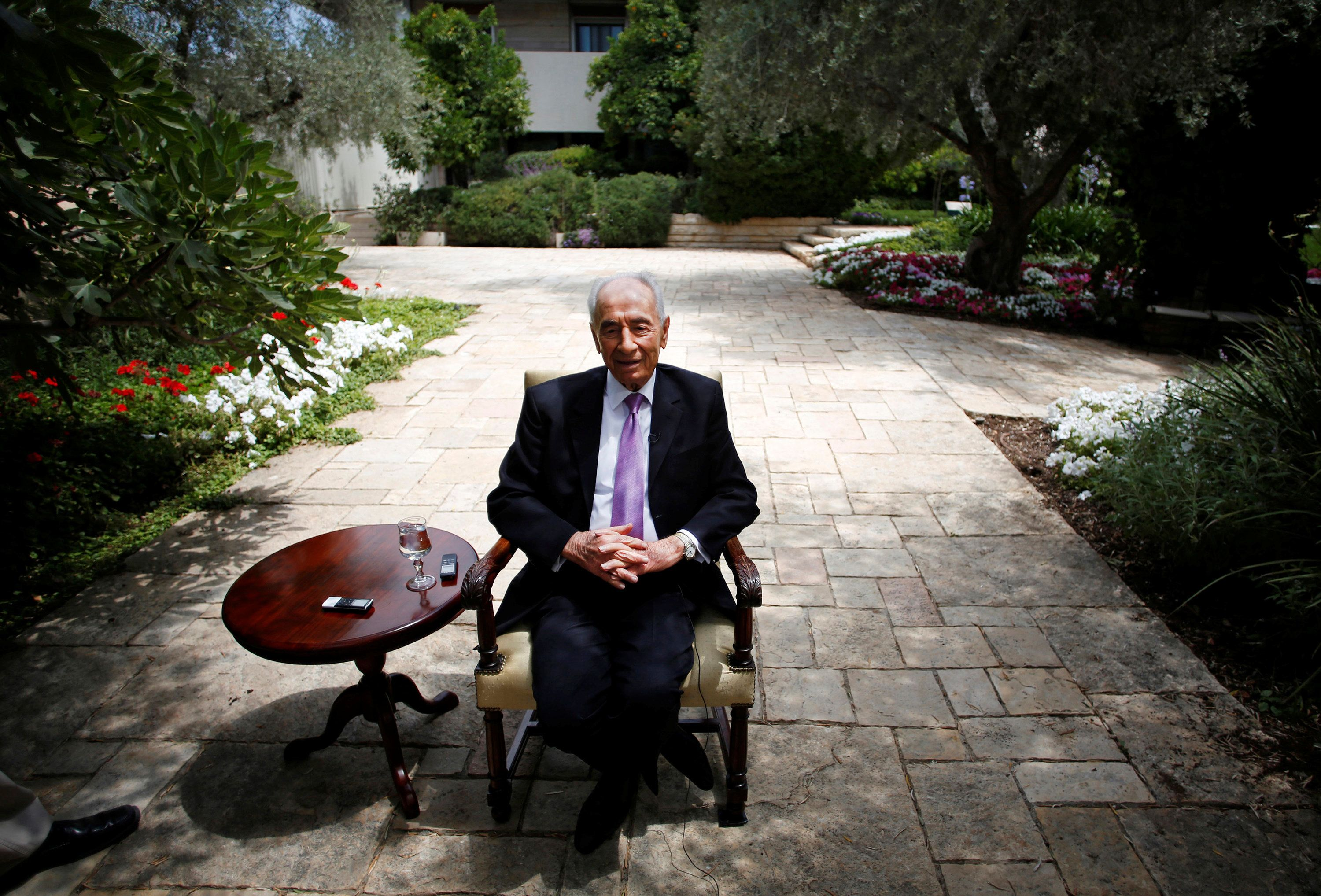 Israel's late president, Shimon Peres, speaks during an interview with Reuters at his residence in Jerusalem onJune 16,