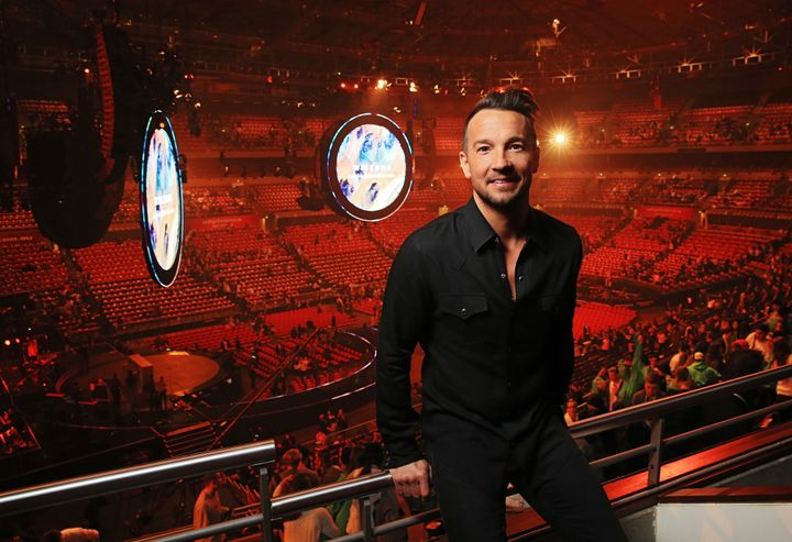 Hillsong NYC Pastor Carl Lentz pictured backstage at the Hillsong Conference at Allphones Arena in Sydney, New South Wales.&n