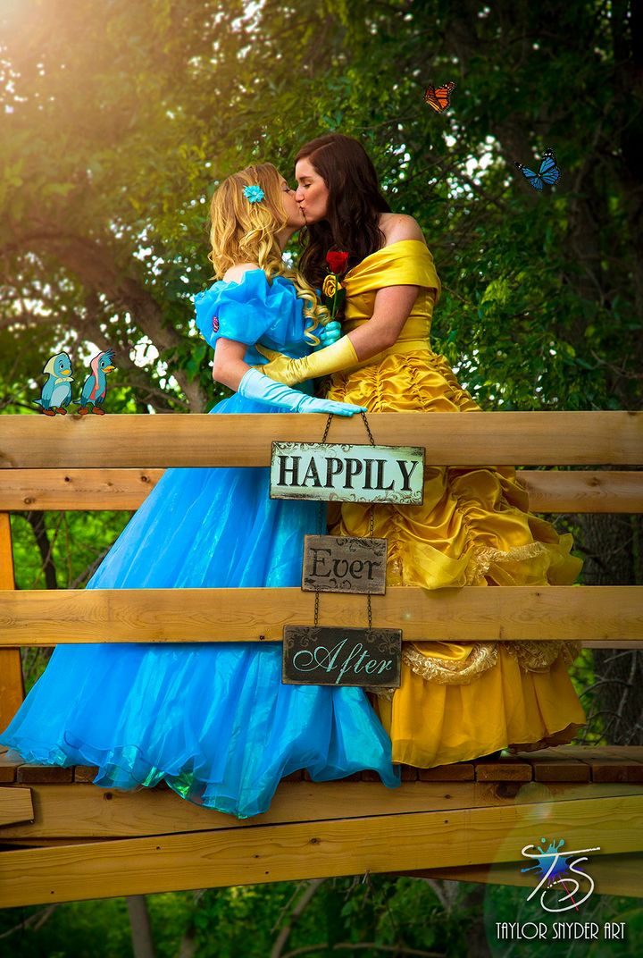 Yalonda and Kayla Solseng dressed as princesses Cinderella and Belle.