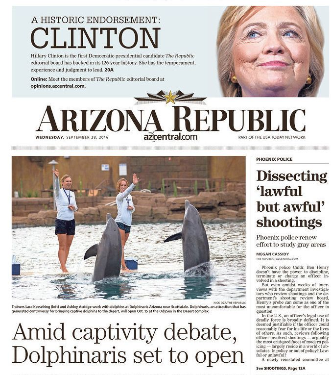 The Arizona Republic endorsed a Democrat for president for the first time in its 126-year history.
