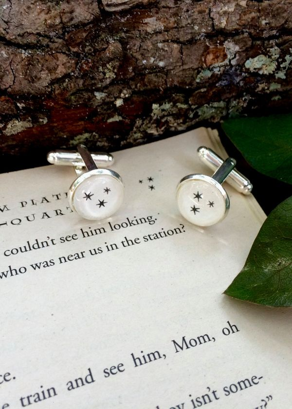 "Corner Star Cufflinks, $9.99 at <a href=""https://www.etsy.com/listing/292153783/harry-potter-corner-star-cufflinks?ga_order=m"