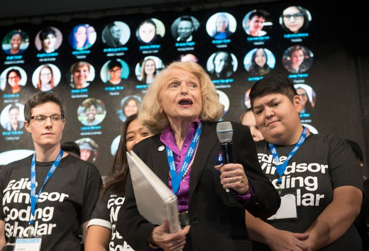 Edie Windsor with her Coding Scholars