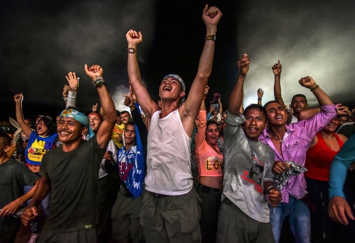FARCrebels dance during a cultural event held at their encampment in Llanos del Yari. Sept. 21.