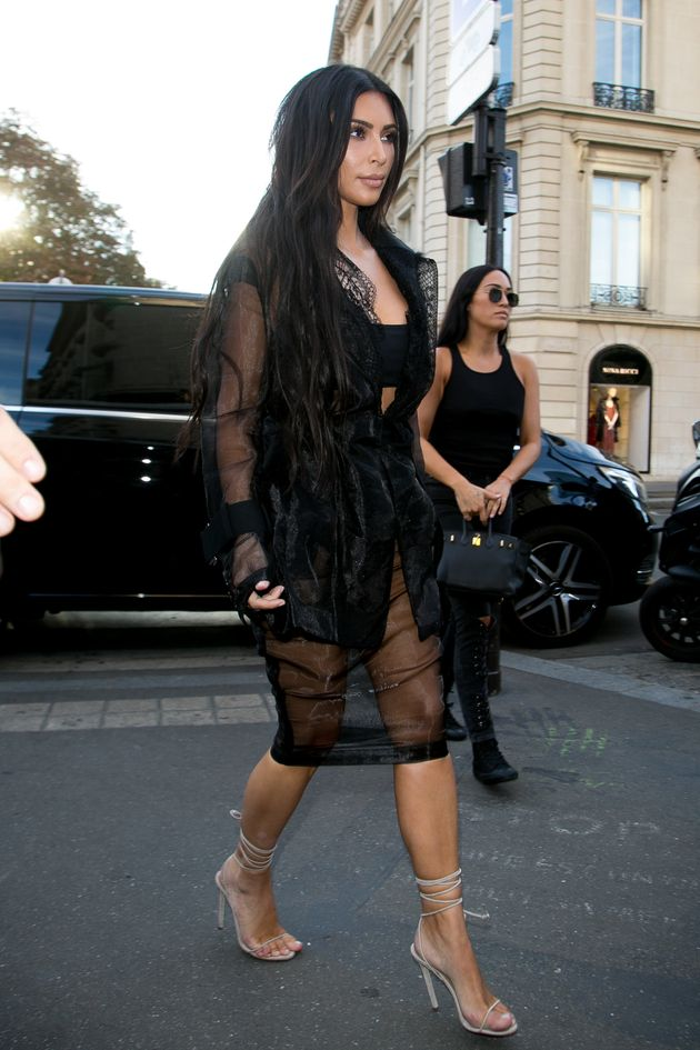 Kim Kardashian going about her business in
