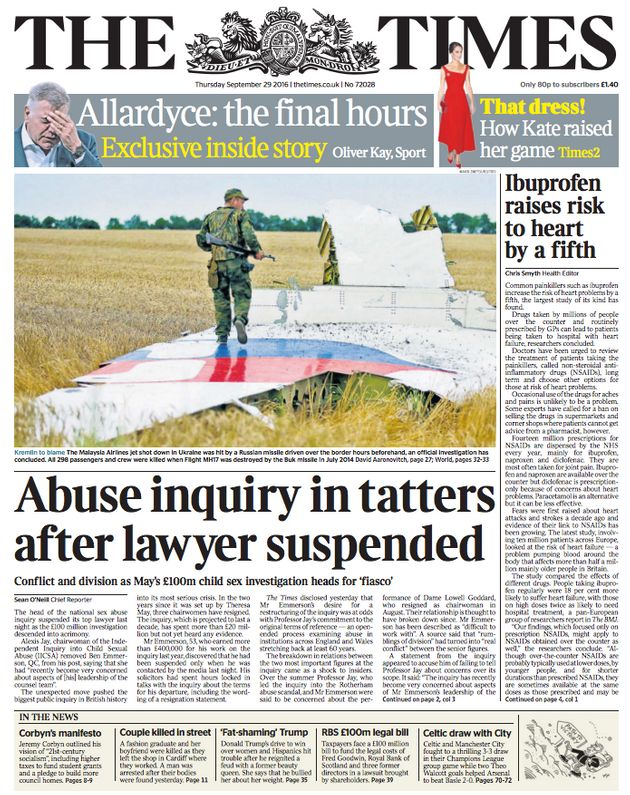 The Times said the inquiry had been left 'in tatters' by Emmerson's