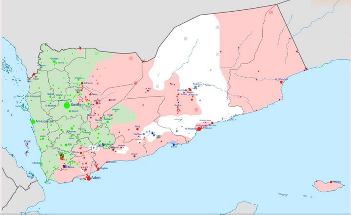 Green - controlled by Revolutionary Committee ; Red - controlled by Hadi-led government and the Southern Movement ; light gre