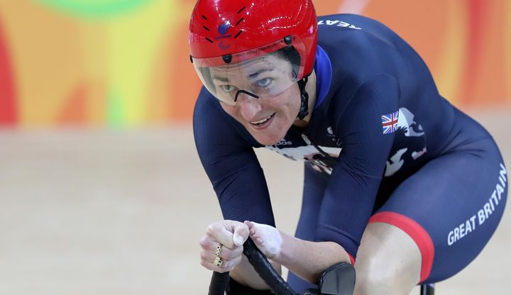 Sarah Storey competing in the women's C5 3,000m individual pursuit track cycling.