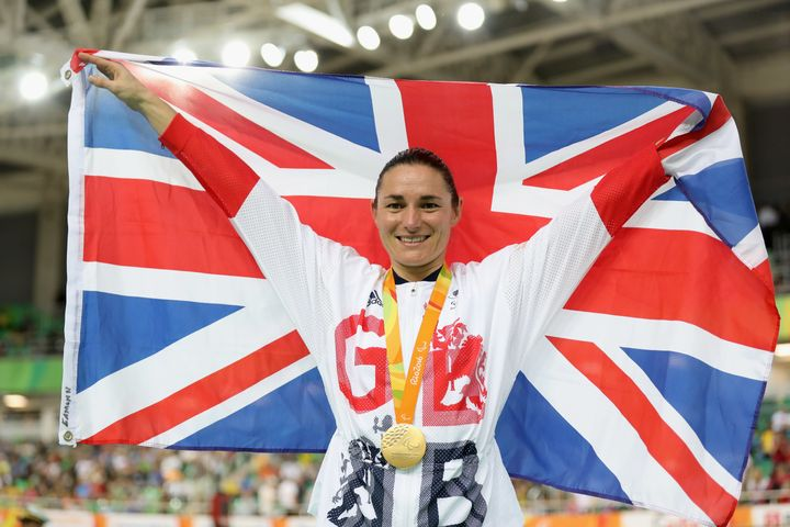 Storey celebrates winning the women's C5 3,000m individual pursuit track cycling.