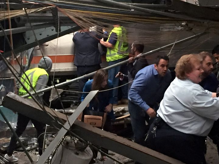 Passengers rush to safety at Hoboken Terminal in New Jersey.