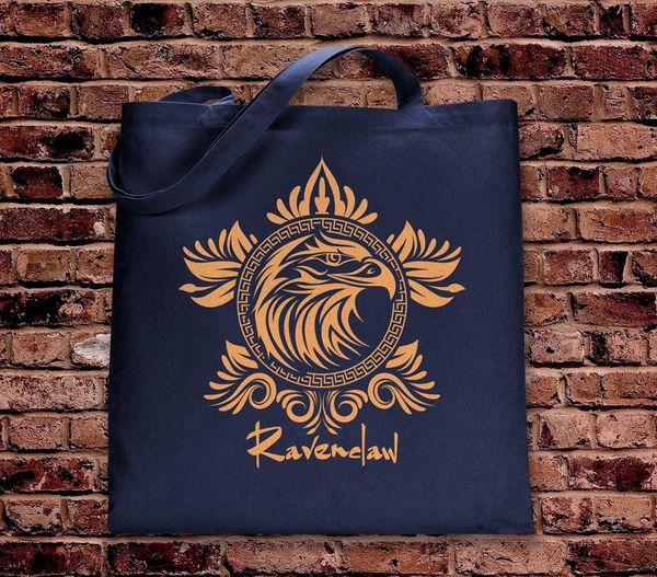 "Ravenclaw tote, $18 at <a href=""https://www.etsy.com/listing/467947745/harry-potter-ravenclaw-tote-bag-navy"" target=""_blank"">"