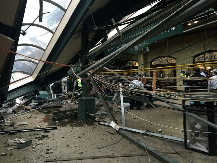Aroof at the terminal collapsed in the train crash.