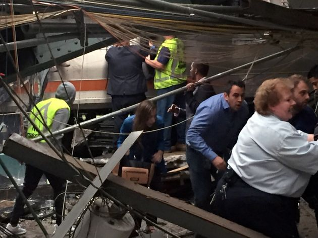 Passengers rush to safety after the