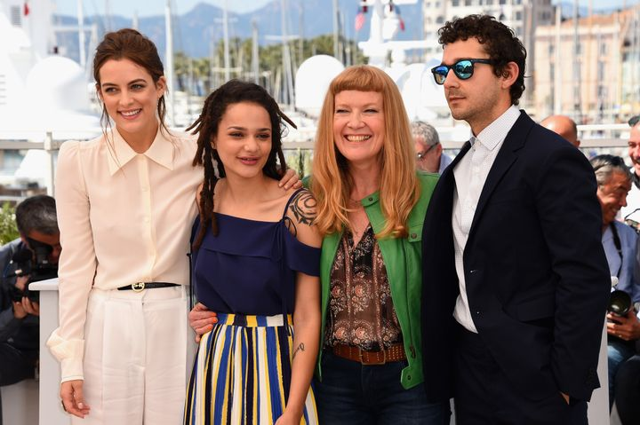 Riley Keough, Sasha Lane, Andrea Arnold and Shia LaBeouf attend the Cannes Film Festival.