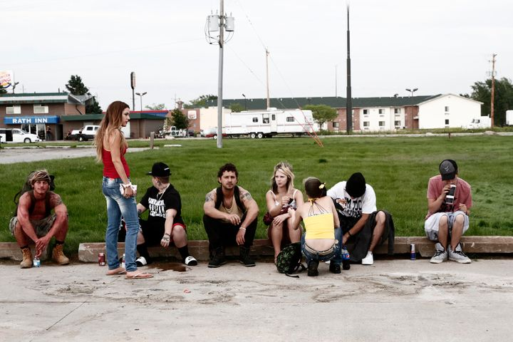 "Riley Keough and castmates star in a scene from ""American Honey."""