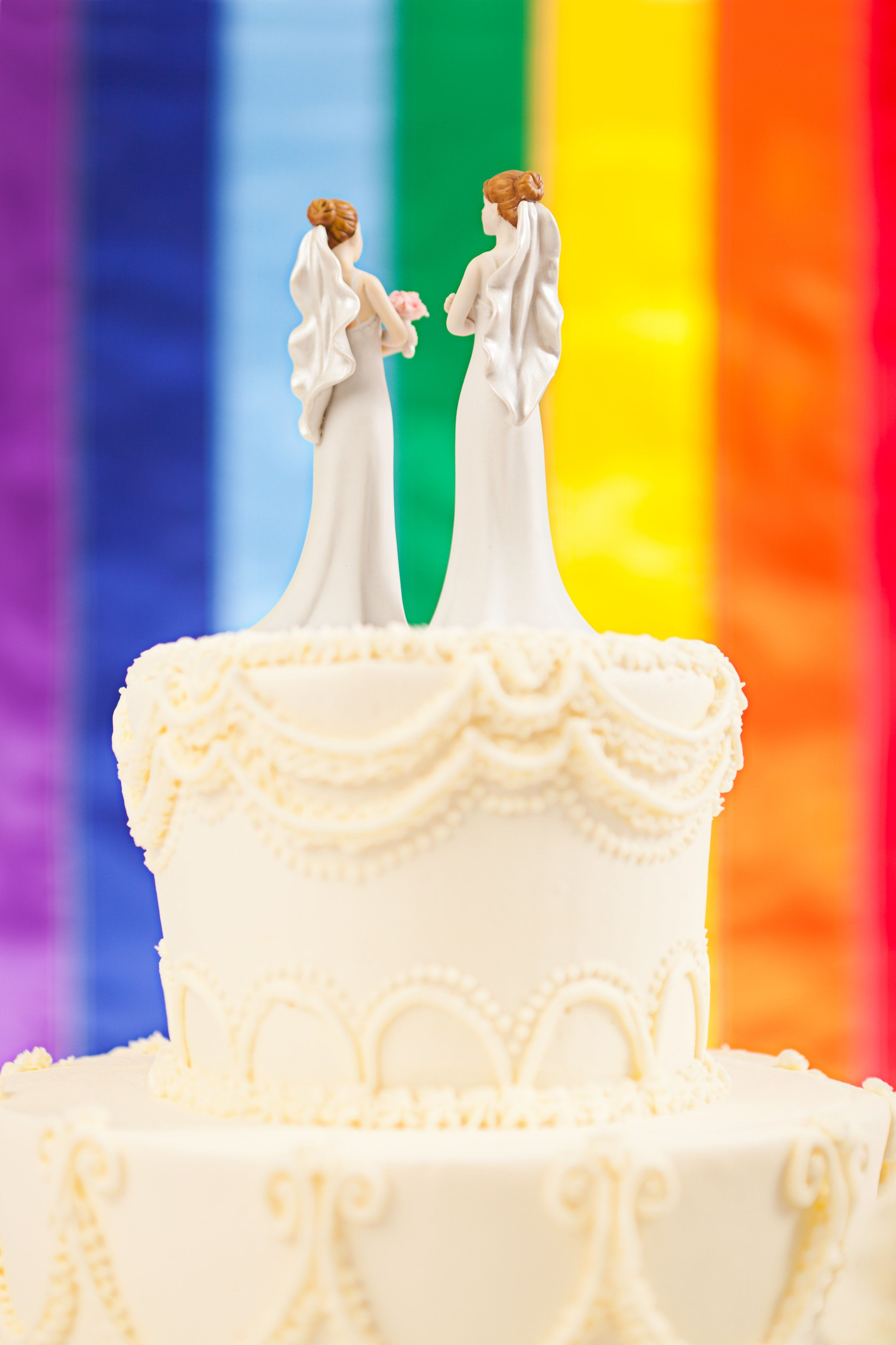 Subject: Same sex marriage wedding cake with two female bride figurine cake toppers and rainbow flag in background.