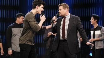 LOS ANGELES - SEPTEMBER 28: Shawn Mendes performing with James Corden during 'The Late Late Show with James Corden,' Wednesday, Sept. 28 (12:35 PM-1:37 AM ET/PT) On The CBS Television Network.  (Photo by Terence Patrick/CBS via Getty Images)