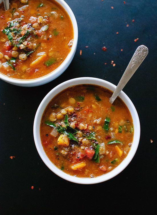 "<strong>Get the <a href=""http://cookieandkate.com/2015/vegan-lentil-soup-recipe/"" target=""_blank"">Vegan Lentil Soup recipe</a"