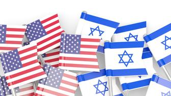 Flags of USA and Israel isolated on white. 3D illustration