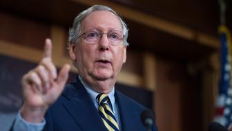 UNITED STATES - SEPTEMBER 29: Senate Majority Leader Mitch McConnell, R-Ky., speaks during a news conference in the Capitol on the Senate agenda, September 29, 2016. (Photo By Tom Williams/CQ Roll Call)
