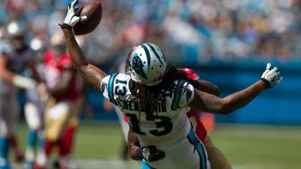 Sep 18, 2016; Charlotte, NC, USA;  Carolina Panthers wide receiver Kelvin Benjamin (13) catches a pass during the third quarter against the San Francisco 49ers at Bank of America Stadium. Mandatory Credit: Jeremy Brevard-USA TODAY Sports