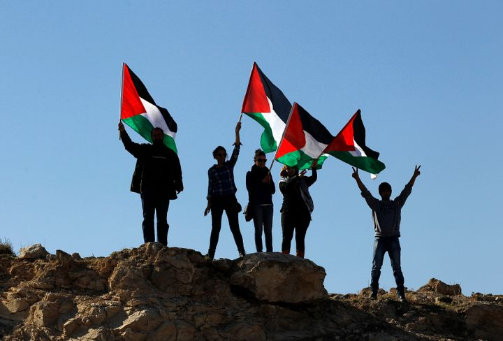 Palestinian activists wave flags during a protest in the West Bank village of Al-Eizariya, Feb. 13, 2014.