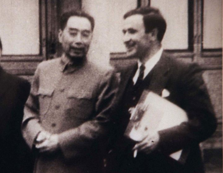 Chinese Premier Zhou Enlai talks to Reuters correspondent David Chipp (R) in this undated photo. Zhou Enlai was Chinese prime