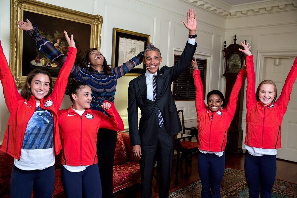 Four members of the Final Five gymnastics team are seen in the White House Thursday