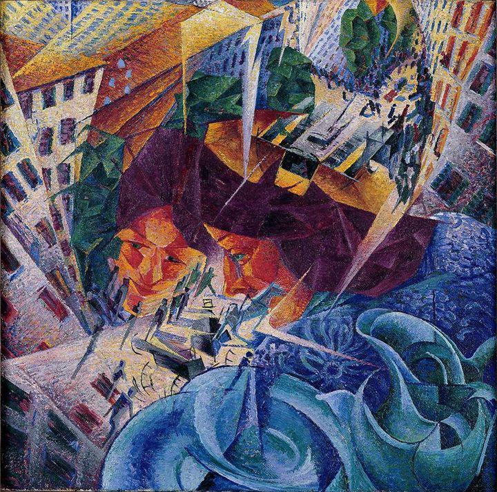 Umberto Boccioni, Visioni simultanee, 1912,