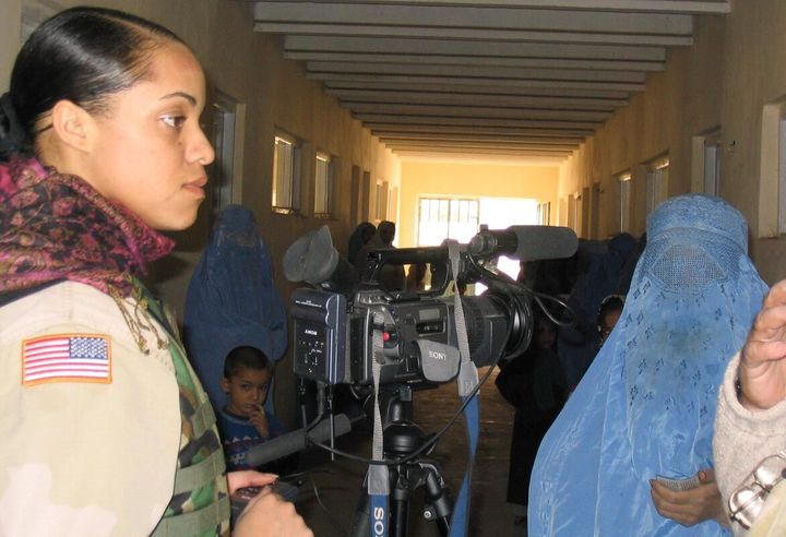 <p>Oct. 2004 -- Mary Simms interviews women in the Raban village in Afghanistan</p>