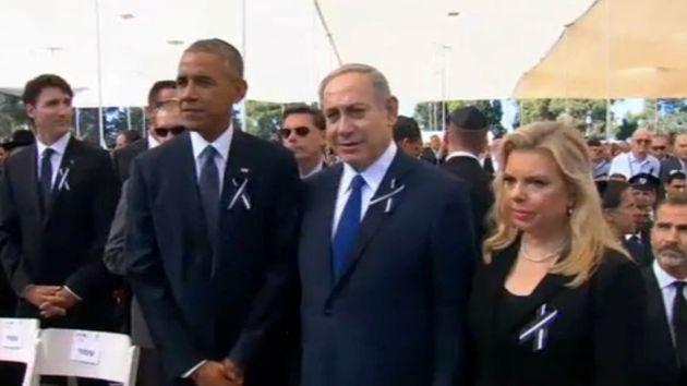President Barack Obama and Israeli Prime Minister Benjamin Netanyahu ahead of the funeral of former Israeli...