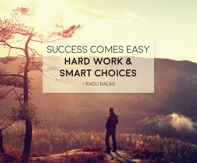 Picture of success quote. Success comes easy, hard work and smart choices.