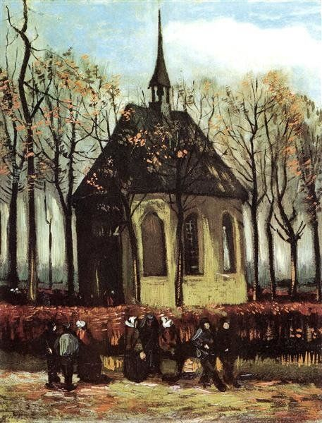"""""""Congregation Leaving The Reformed Church In Nuenen"""" (1884) byVincent VanGogh"""