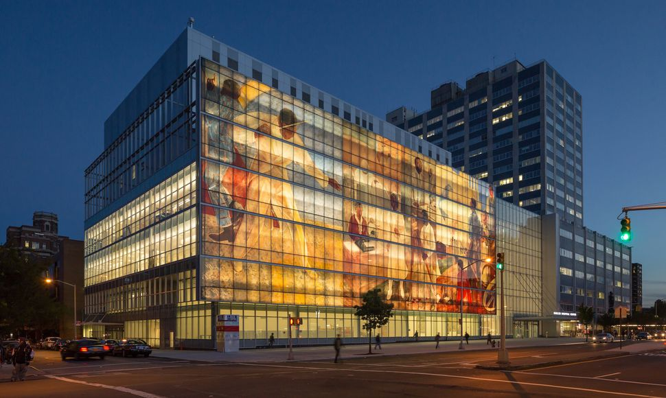 "Harlem Hospital Center's Mural Pavilion facade replicates three panels from the 1937 ""Pursuit of Happiness"" mural b"