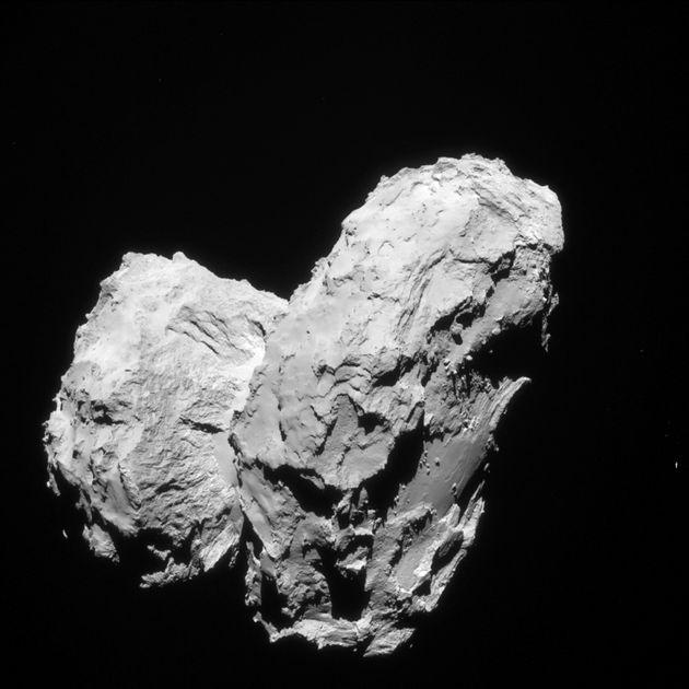 A comet, 67P/Churyumov–Gerasimenko, being studied by Europe's orbiting Rosetta spacecraft is shown...